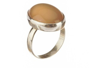 sterling silver Peach Moonstone Cabochon Ring