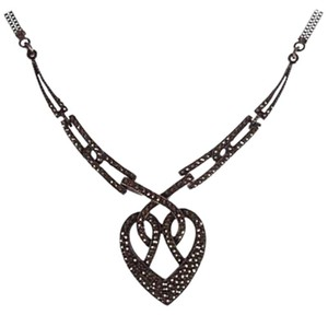 Sterling Silver Art Deco Sterling Silver Pave Marcasite Heart Necklace