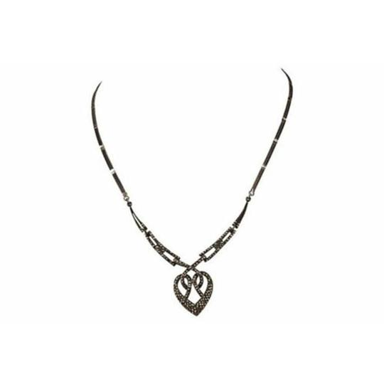 Sterling Silver Art Deco Sterling Silver Pave Marcasite Heart Necklace Image 1