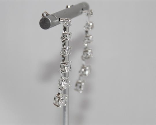 unbranded Elegant Polished Silver Linear Sparkling Cubic Zirconia Earrings Image 1