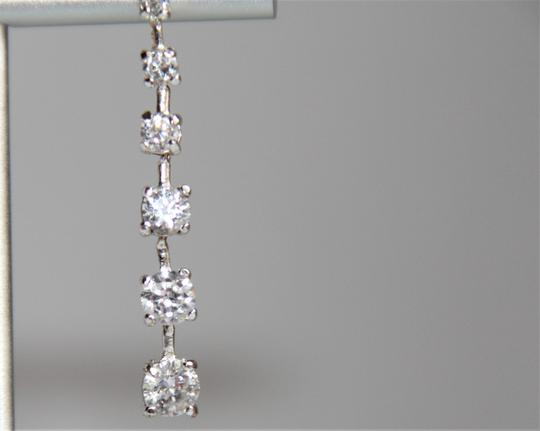 unbranded Elegant Polished Silver Linear Sparkling Cubic Zirconia Earrings Image 2