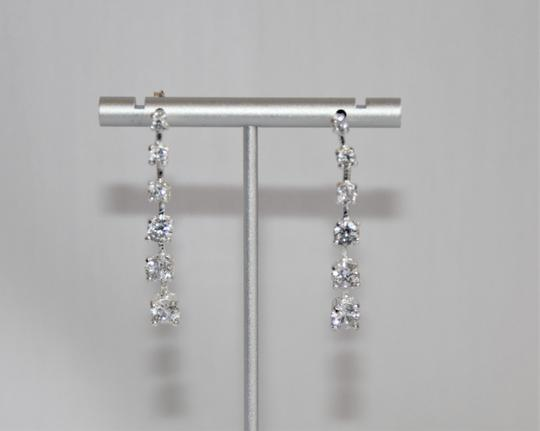 unbranded Elegant Polished Silver Linear Sparkling Cubic Zirconia Earrings Image 3