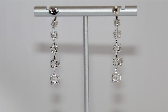 unbranded Elegant Polished Silver Linear Sparkling Cubic Zirconia Earrings Image 4