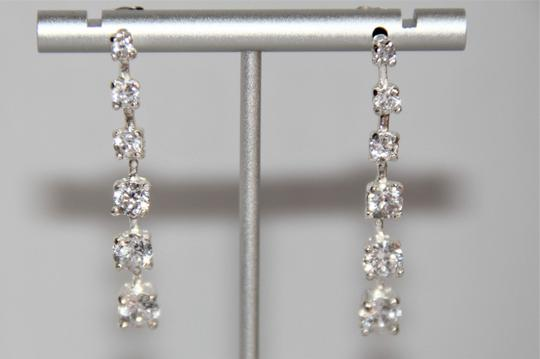 unbranded Elegant Polished Silver Linear Sparkling Cubic Zirconia Earrings Image 7