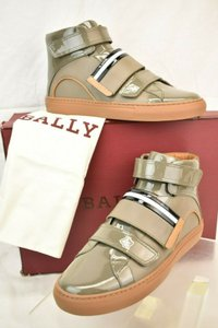 Bally Gray Herick Snuff Patent Leather Hi Top Stripe Logo Sneakers 8 Us 41 Shoes
