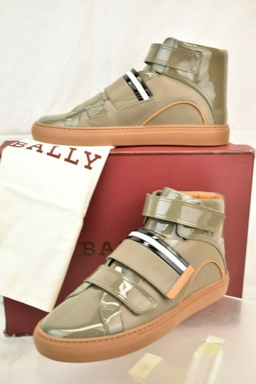 Bally Gray Herick Snuff Patent Leather Hi Top Stripe Logo Sneakers 8 Us 41 Shoes Image 1
