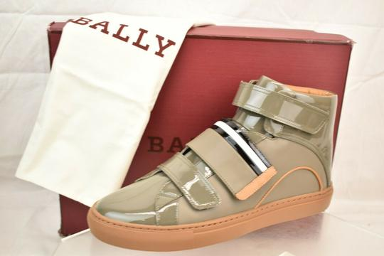 Bally Gray Herick Snuff Patent Leather Hi Top Stripe Logo Sneakers 8 Us 41 Shoes Image 2