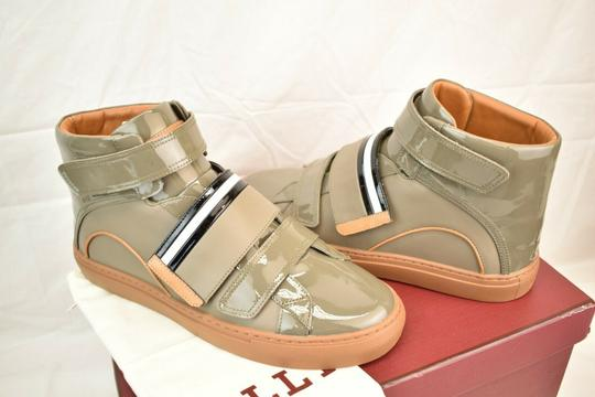 Bally Gray Herick Snuff Patent Leather Hi Top Stripe Logo Sneakers 8 Us 41 Shoes Image 3