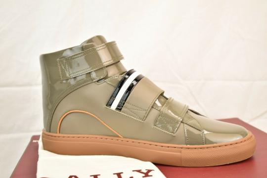 Bally Gray Herick Snuff Patent Leather Hi Top Stripe Logo Sneakers 8 Us 41 Shoes Image 4