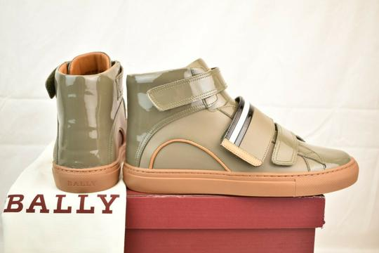 Bally Gray Herick Snuff Patent Leather Hi Top Stripe Logo Sneakers 8 Us 41 Shoes Image 5