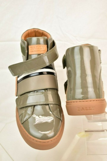 Bally Gray Herick Snuff Patent Leather Hi Top Stripe Logo Sneakers 8 Us 41 Shoes Image 6
