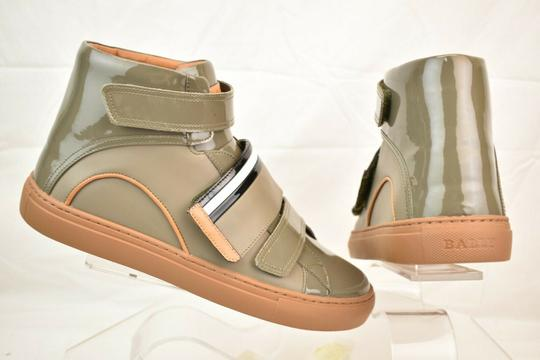 Bally Gray Herick Snuff Patent Leather Hi Top Stripe Logo Sneakers 8 Us 41 Shoes Image 7