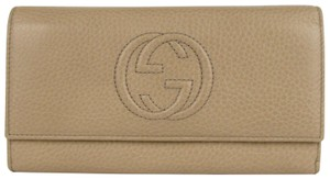 Gucci Soho Tan Leather Interlocking G Logo Continental Wallet 282414 2609