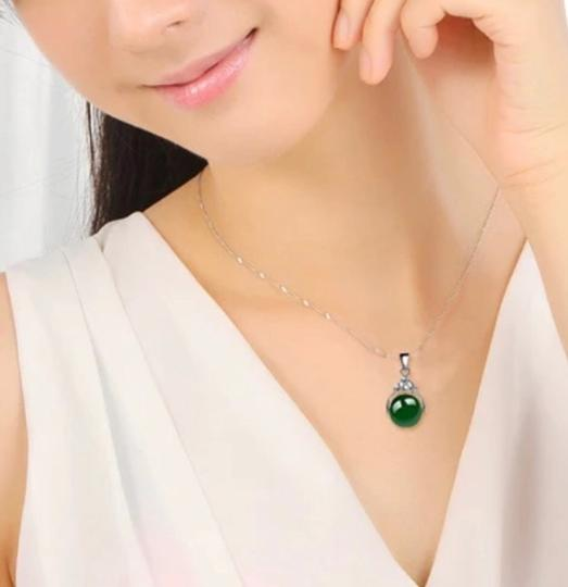 Unbranded Auth jade bean S925 sliver necklace with gift box Image 1