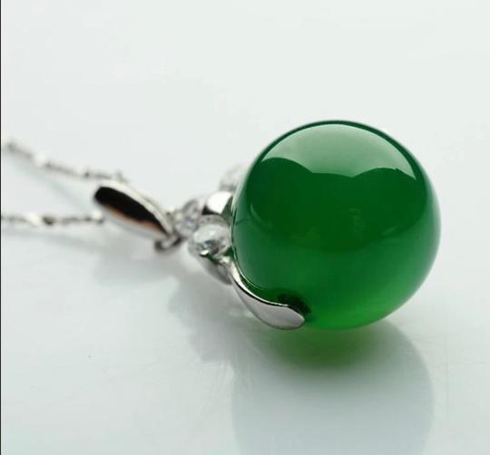 Unbranded Auth jade bean S925 sliver necklace with gift box Image 2
