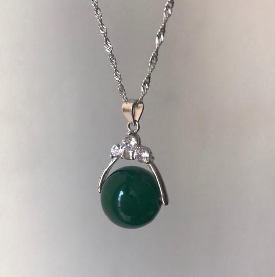 Unbranded Auth jade bean S925 sliver necklace with gift box Image 3