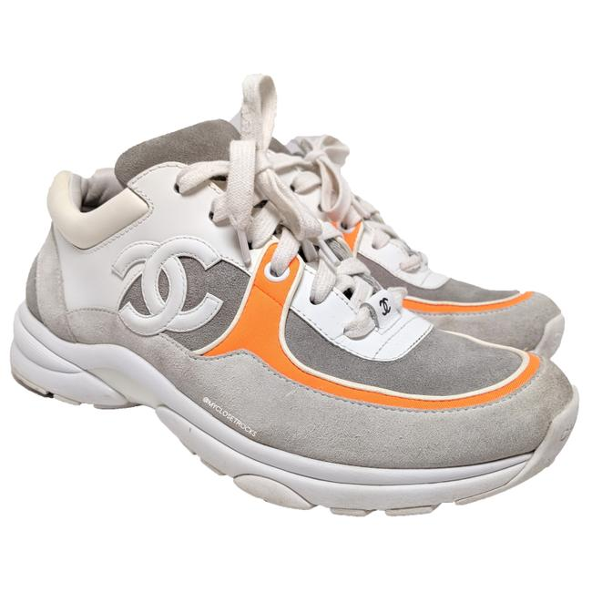 Item - Grey White Orange Leather Suede Sneakers Size EU 36.5 (Approx. US 6.5) Regular (M, B)