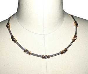 custom mixed gold and diamond cable station collar 34.6Gr