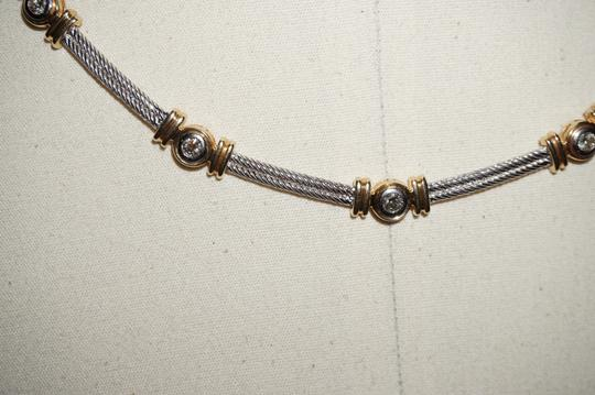 custom mixed gold and diamond cable station collar 34.6Gr Image 5