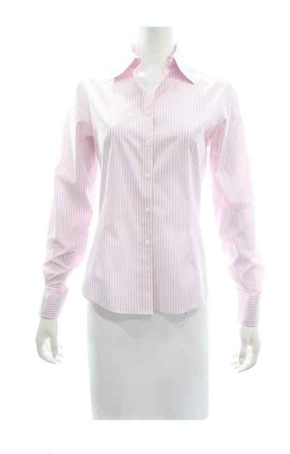 Item - Pink & White Striped Shirt Button-down Top Size 8 (M)