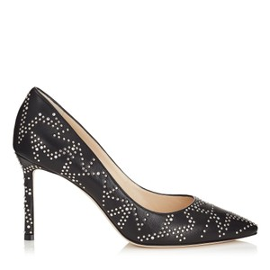 Jimmy Choo Studded Romy Classic Blogger Pointed Toe Black Pumps