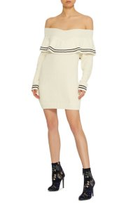 self-portrait short dress White Off Shoulder Sweater Ruffle Fitted Bodycon on Tradesy