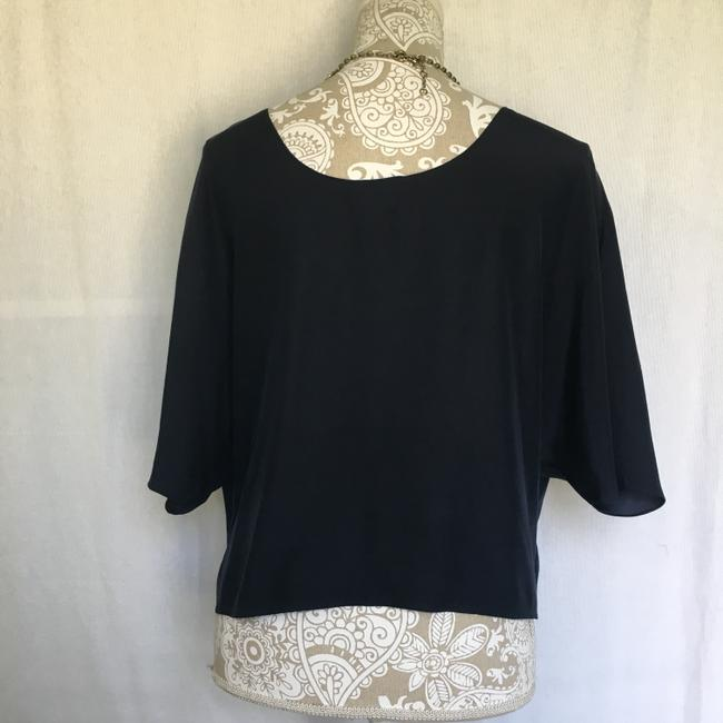 Vince Silk Top Navy Blue Image 3