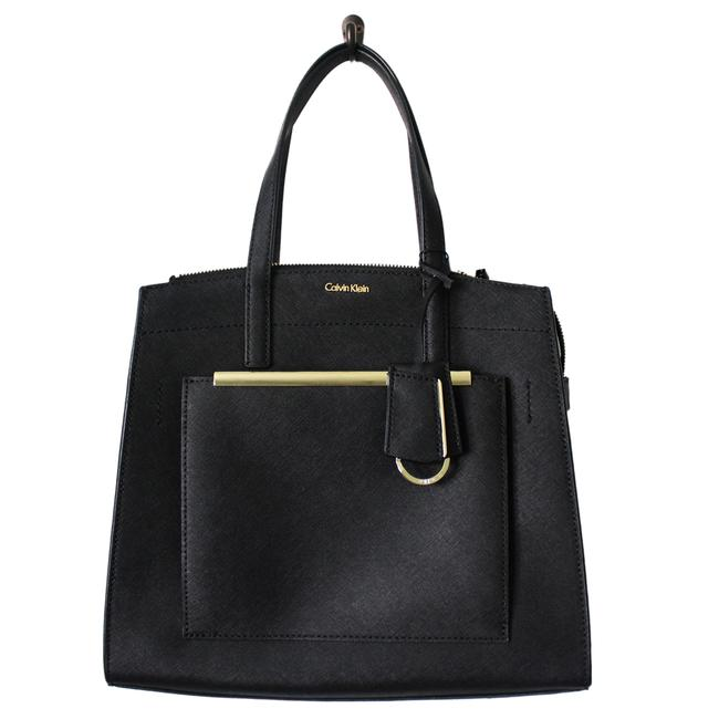 Item - Mara Black/Gold Saffiano Leather Satchel