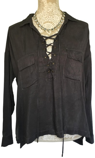 Preload https://img-static.tradesy.com/item/25820091/grey-charcoal-lace-up-cargo-blouse-size-8-m-0-1-650-650.jpg