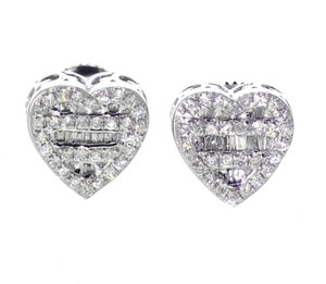 White Gold 10k Diamond Baguette and Round Cut 0.42ctw 9mm Earrings