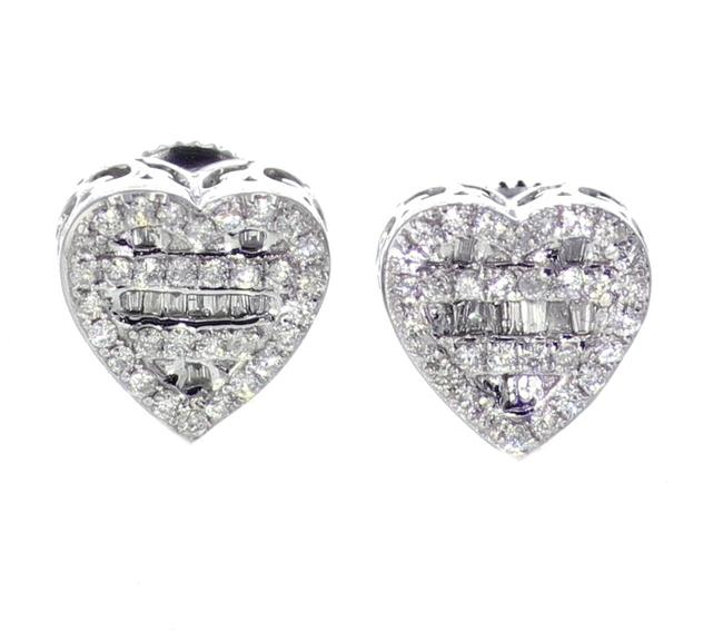 Item - White Gold 10k Diamond Baguette and Round Cut 0.42ctw 9mm Earrings