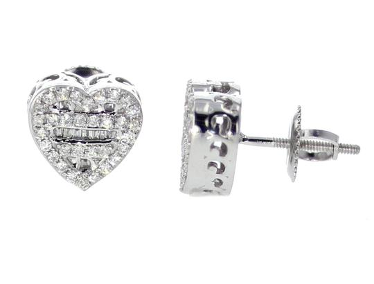 White Gold 10k Diamond Baguette and Round Cut 0.42ctw 9mm Earrings Image 1