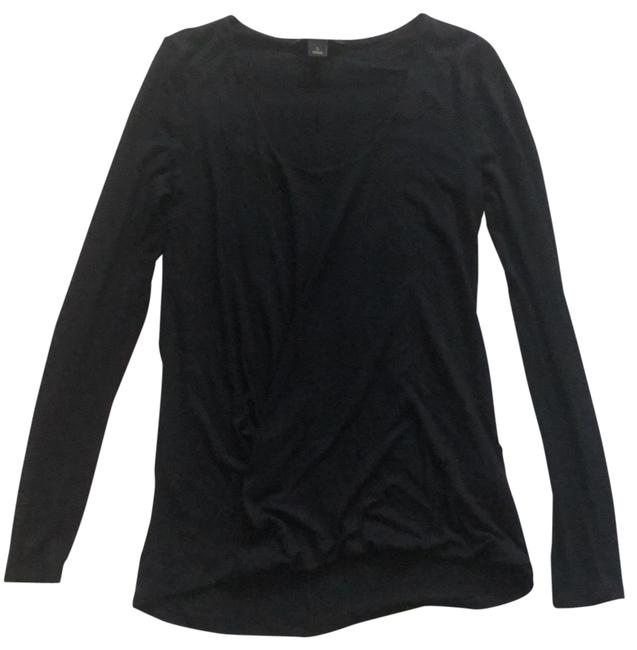 Item - Black Draped Front Soft Long Sleeve Tunic Size 6 (S)