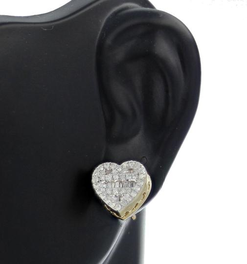 Yellow Yold 10k Diamond Baguette and Round Cut 0.42ctw 9mm Earrings Image 1