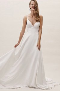 BHLDN Ivory Polyester Polyester Lining Beloved Gown Casual Wedding Dress Size 10 (M)