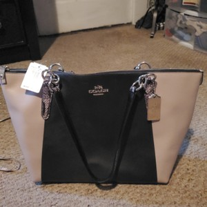 Coach Tote in Black, snake, and tan