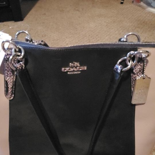 Coach Tote in Black, snake, and tan Image 1