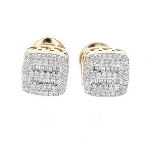 Yellow Gold 10k Diamond Baguette and Round Cut 0.28ctw 8mm Earrings