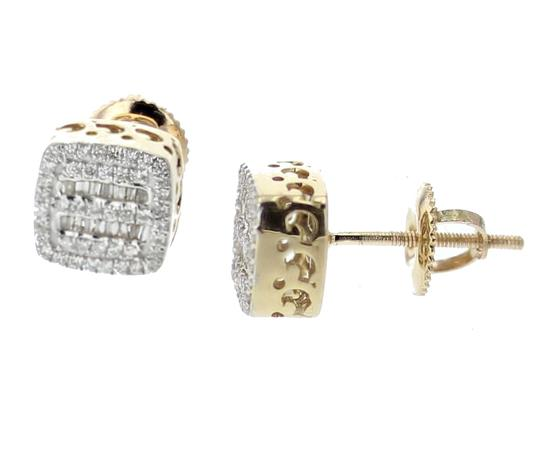 Yellow Gold 10k Diamond Baguette and Round Cut 0.28ctw 8mm Earrings Image 1