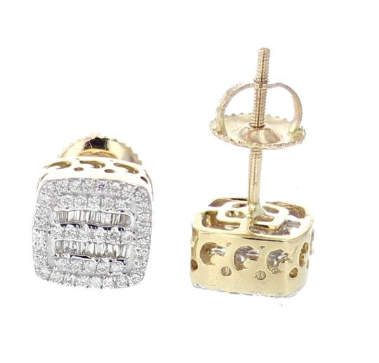 Yellow Gold 10k Diamond Baguette and Round Cut 0.28ctw 8mm Earrings Image 2
