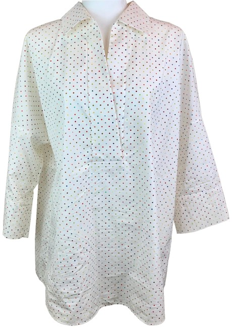 Preload https://img-static.tradesy.com/item/25820309/akris-punto-multicolored-polka-dot-pointed-collar-blouse-size-14-l-0-1-650-650.jpg