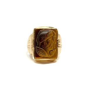Other 10k Yellow Gold Vintage Carved Tiger's Eye Roman Soldier Ring Size 7.5