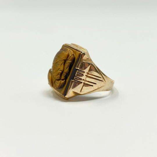 Other 10k Yellow Gold Vintage Carved Tiger's Eye Roman Soldier Ring Size 7.5 Image 1