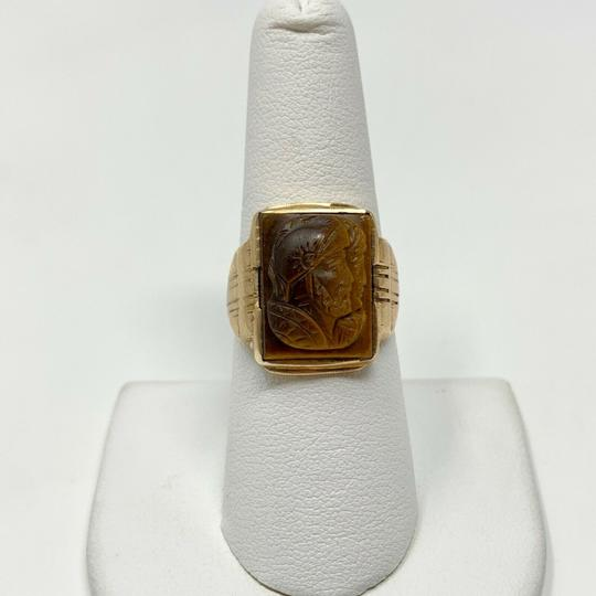 Other 10k Yellow Gold Vintage Carved Tiger's Eye Roman Soldier Ring Size 7.5 Image 3