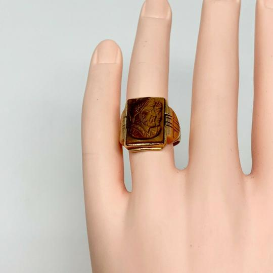 Other 10k Yellow Gold Vintage Carved Tiger's Eye Roman Soldier Ring Size 7.5 Image 5