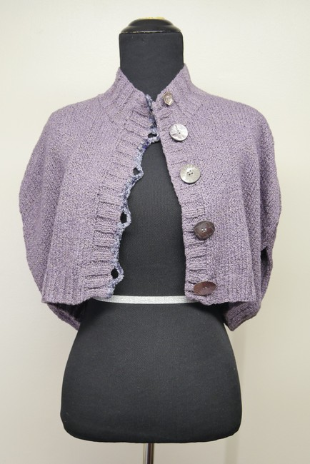 Mon Tricot Poncho Sweater Mother Of Pearl Vintage Handmade Cardigan Image 3