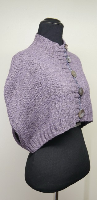Mon Tricot Poncho Sweater Mother Of Pearl Vintage Handmade Cardigan Image 4