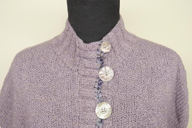 Mon Tricot Poncho Sweater Mother Of Pearl Vintage Handmade Cardigan Image 7