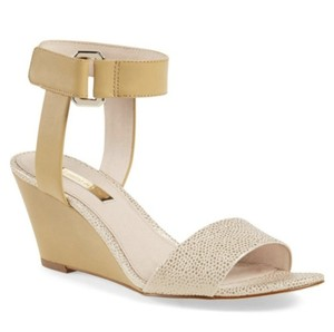 Louise et Cie Tan and Gold Wedges