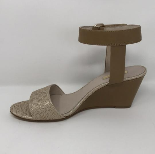 Louise et Cie Tan and Gold Wedges Image 1